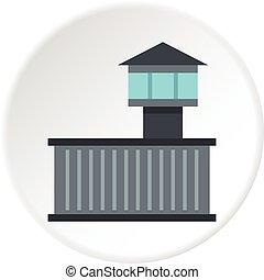 Prison tower icon circle
