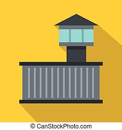 Prison tower icon, flat style
