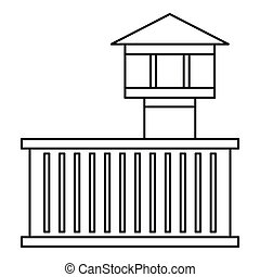 Prison tower icon, outline style