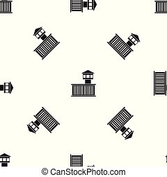 Prison tower pattern seamless black