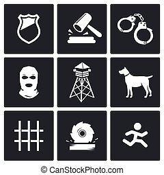 prison, vecteur, ensemble, icônes