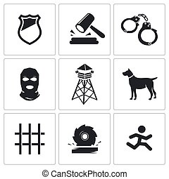 Prison Vector Icons Set - Prison Vector Isolated Flat Icons...