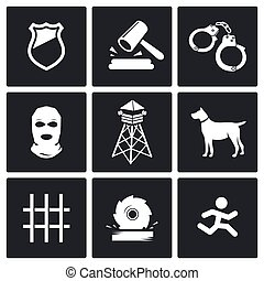 Prison Vector Icons Set