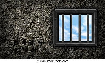 prison window - riveted steel prison window - 3d...
