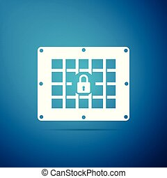 Prison window icon isolated on blue background. Flat design. Vector Illustration