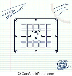 Prison window line sketch icon isolated on white background. Vector Illustration