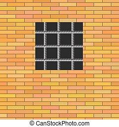 Prison Window. - Prison Window 0n Red Brick Wall. Jail Wall...