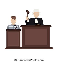 Prisoner and judge in courtroom vector illustration graphic...