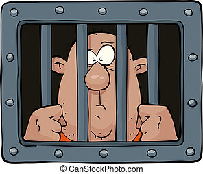 Prisoner behind bars on a white background vector illustration