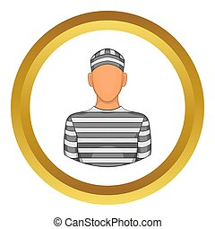 Prisoner icon in golden circle, cartoon style isolated on...