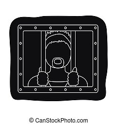 Prisoner icon in black style isolated on white background. Police symbol stock vector illustration.