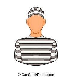 Prisoner icon in cartoon style
