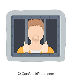 Prisoner icon in cartoon style isolated on white background. Police symbol stock vector illustration.