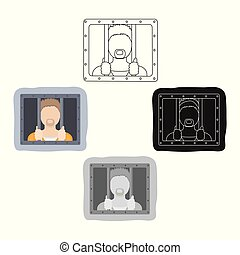 Prisoner icon in cartoon,black style isolated on white...