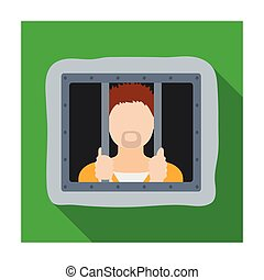 Prisoner icon in flat style isolated on white background. Police symbol stock vector illustration.