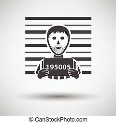 Prisoner in front of wall with scale icon on gray background...