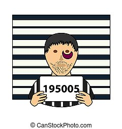 Prisoner In Front Of Wall With Scale Icon. Editable Outline With Color Fill Design. Vector Illustration.