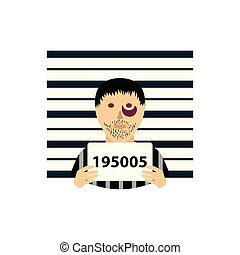 Prisoner in front of wall with scale icon. Flat color design. Vector illustration.