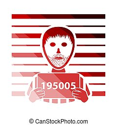 Prisoner In Front Of Wall With Scale Icon. Flat Color Ladder Design. Vector Illustration.
