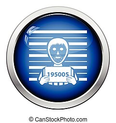 Prisoner in front of wall with scale icon. Glossy button design. Vector illustration.