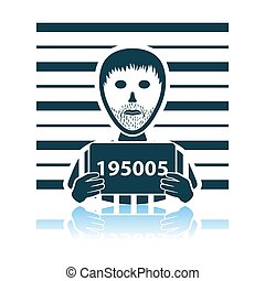 Prisoner In Front Of Wall With Scale Icon. Shadow Reflection Design. Vector Illustration.