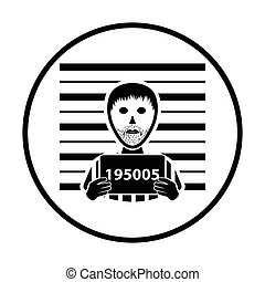 Prisoner in front of wall with scale icon. Thin circle design. Vector illustration.