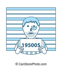 Prisoner In Front Of Wall With Scale Icon. Thin Line With Blue Fill Design. Vector Illustration.