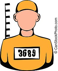 Prisoner in hat with number icon, icon cartoon - Prisoner in...