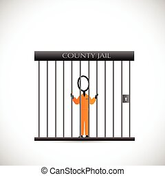 Prisoner In Jail Illustrator - Illustration of a prisoner...
