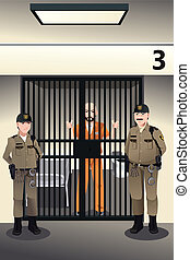 A vector illustration of prisoner in the jail being guarded by prison guards