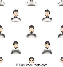 Prisoner in the prison robe. The offender is punished.Prison single icon in cartoon style vector symbol stock illustration.