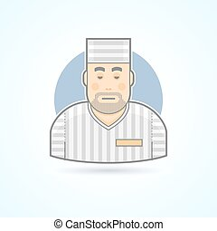 Prisoner, inmate, jailed man in a prison robe icon. Avatar and person illustration. Flat colored outlined style.