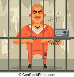 Prisoner man character in jail. Vector flat cartoon illustration