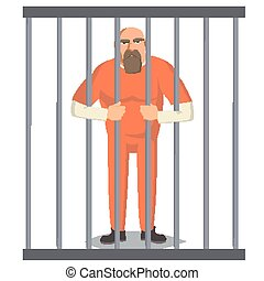 Prisoner Man In Pokey Vector. Outlaw Robber Arrested And Locked. Cartoon Character Illustration