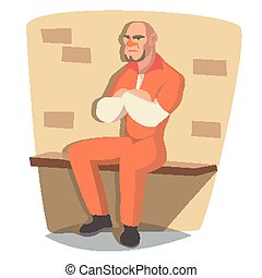 Prisoner Man Vector. Criminal Man Arrested And Locked. Isolated Flat Cartoon Character Illustration