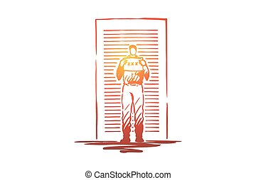 Prisoner mugshot, arrested man holding identification placard, faceless convict, outlaw standing by wall. Police lineup, criminal registration procedure concept sketch. Hand drawn vector illustration