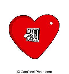 Prisoner of Love - Vectorel conceptual humorous cartoon...