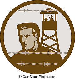 Prisoner of war in a concentration camp with guard tower in...