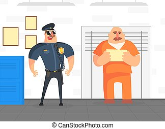 Prisoner Posing for Police Mugshot in Orange Uniform, Police Department Interior Vector Illustration