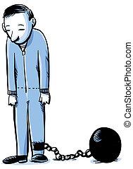 Prisoner - A cartoon prisoner secured by an iron ball &...
