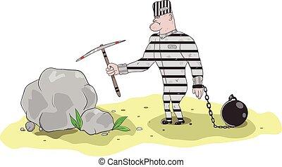 Prisoner working vector illustratio - Illustration of a...