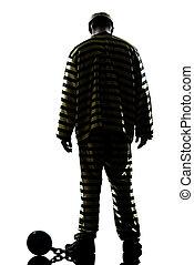prisonnier, criminel, balle, chaîne, homme