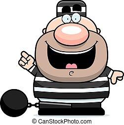 prisonnier, dessin animé, idée