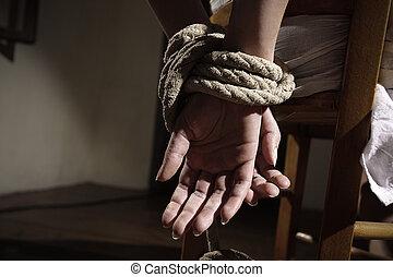 prisonnier, femme
