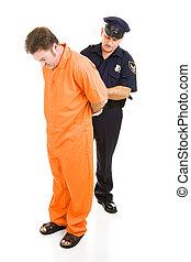 prisonnier, menottes, officier