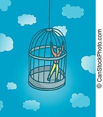 prisonnier, mettez cage oiseau, minuscule, homme