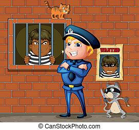 prisonnier, prison, policier