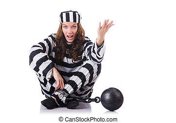 prisonnier, rayé, blanc uniforme