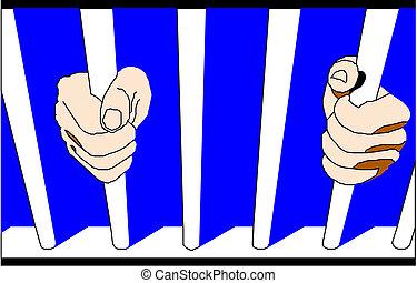 prisonnier, treillis, mains