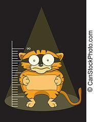 prisonniers, chats, capturé, illustration